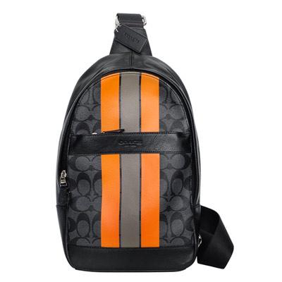 COACH鐵灰黑C-Logo橙咖塗漆飾邊單肩後背-斜背男包