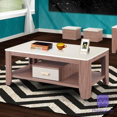 漢妮Hampton雪柔柚木色石面大茶几(含凳)-130x70x55cm