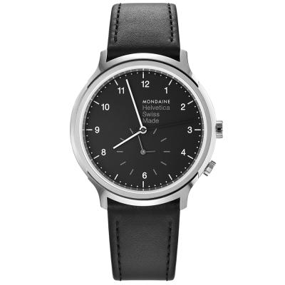 MONDAINE 瑞士國鐵設計系列雙時區腕錶-黑/40mm