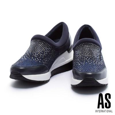 休閒鞋 AS 閃爍耀眼漸層水鑽設計厚底休閒鞋-藍