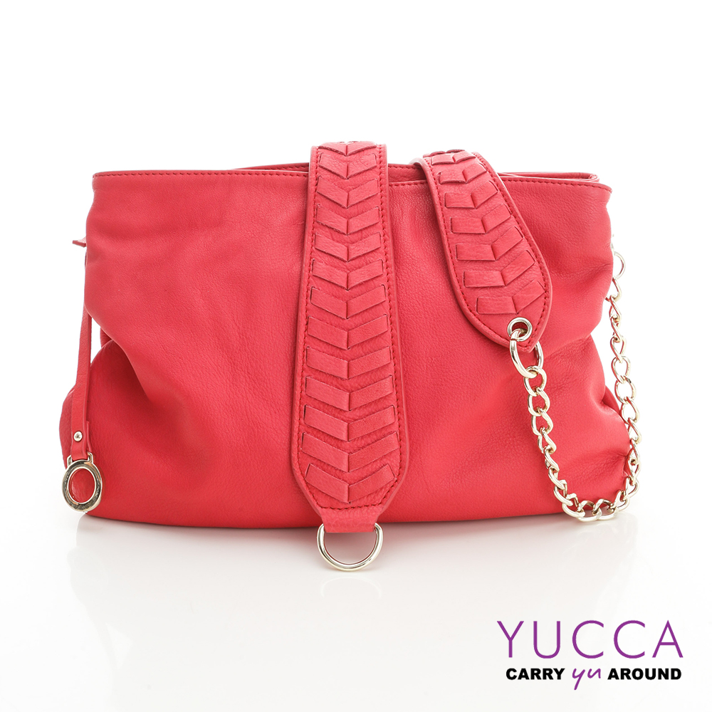 YUCCA 自然葉脈圖騰牛皮肩背包-玫紅色 D012503
