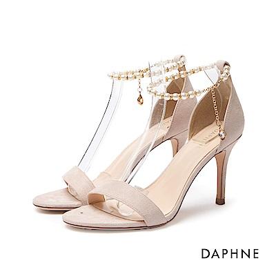 達芙妮DAPHNE 涼鞋-珍珠鍊條踝帶一字高跟涼鞋-杏