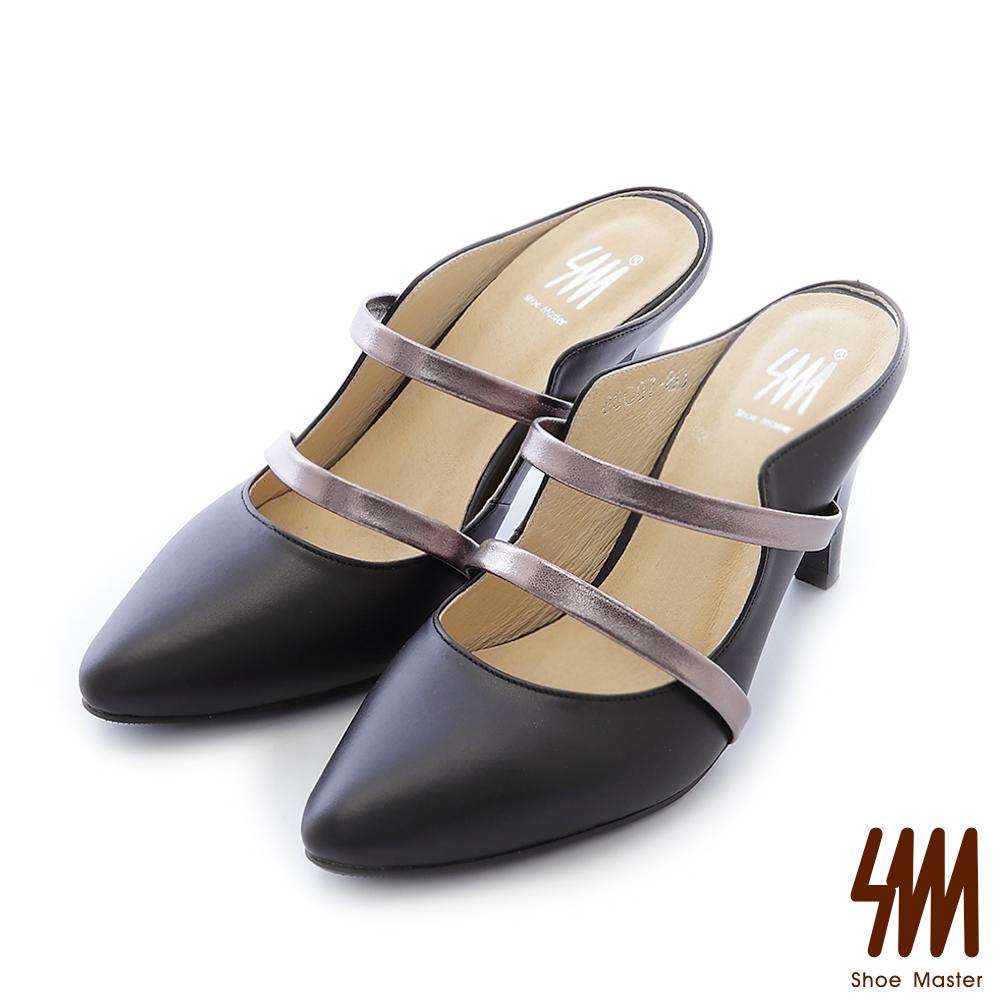 SM-台灣全真皮-性感雙環前帶包鞋尖頭高跟細跟拖鞋-黑色