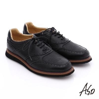 A.S.O 輕量抗震 真皮壓紋簡約活力休閒鞋 黑色