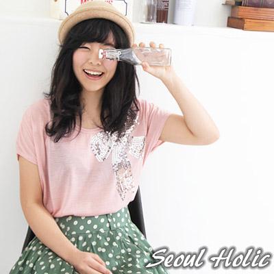 亮片蝴蝶結長版上衣-黑色-Seoul-Holic