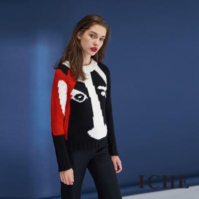 ICHE衣哲 時尚設計款印花羊毛針織造型上衣-黑