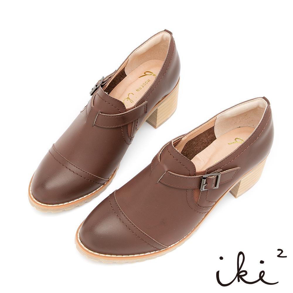 iki2-獨特品味粗跟牛津鞋-咖
