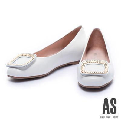 娃娃鞋 AS 經典鍊型方釦全真皮內增高娃娃鞋-白