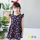 Azio Kids 童裝-洋裝 滿版草莓點點荷葉袖洋裝(深藍)