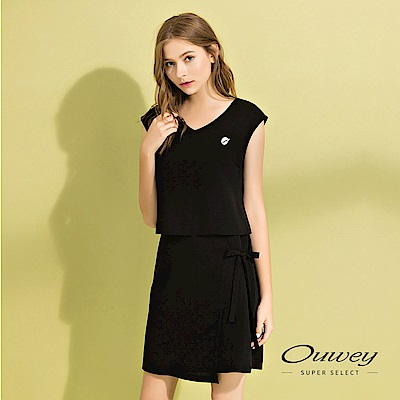 OUWEY歐薇 活片造型假兩件背心洋裝(黑)