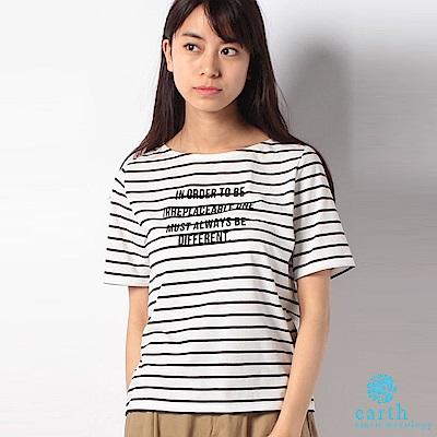 earth music 橫條紋標語圓領T恤
