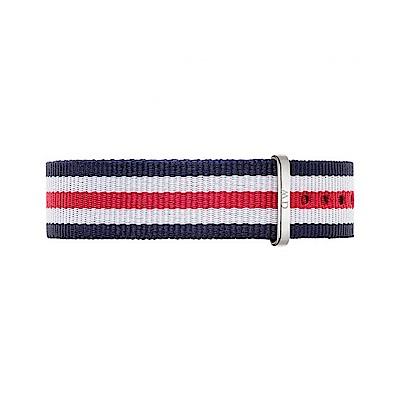 Daniel Wellington  銀扣尼龍錶帶-藍x白x紅/18mm