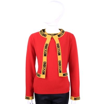 MOSCHINO 品牌字母設計羊毛短版針織外套(30%CASHMERE)