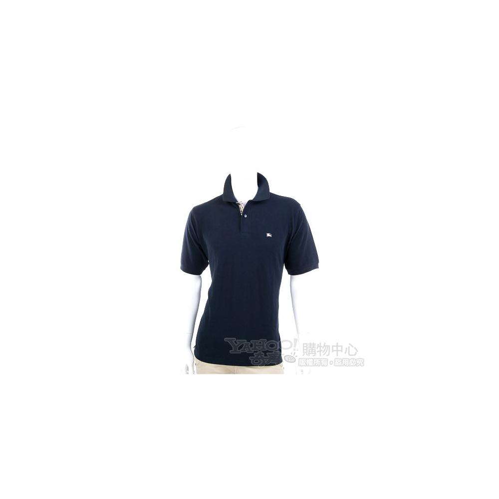 BURBERRY 深藍色經典格紋飾短袖POLO衫