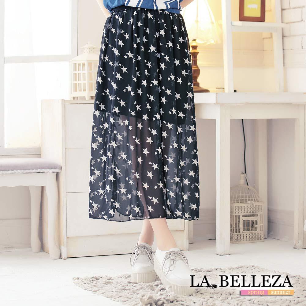中大尺碼 滿版星星雪紡花形長裙-La Belleza