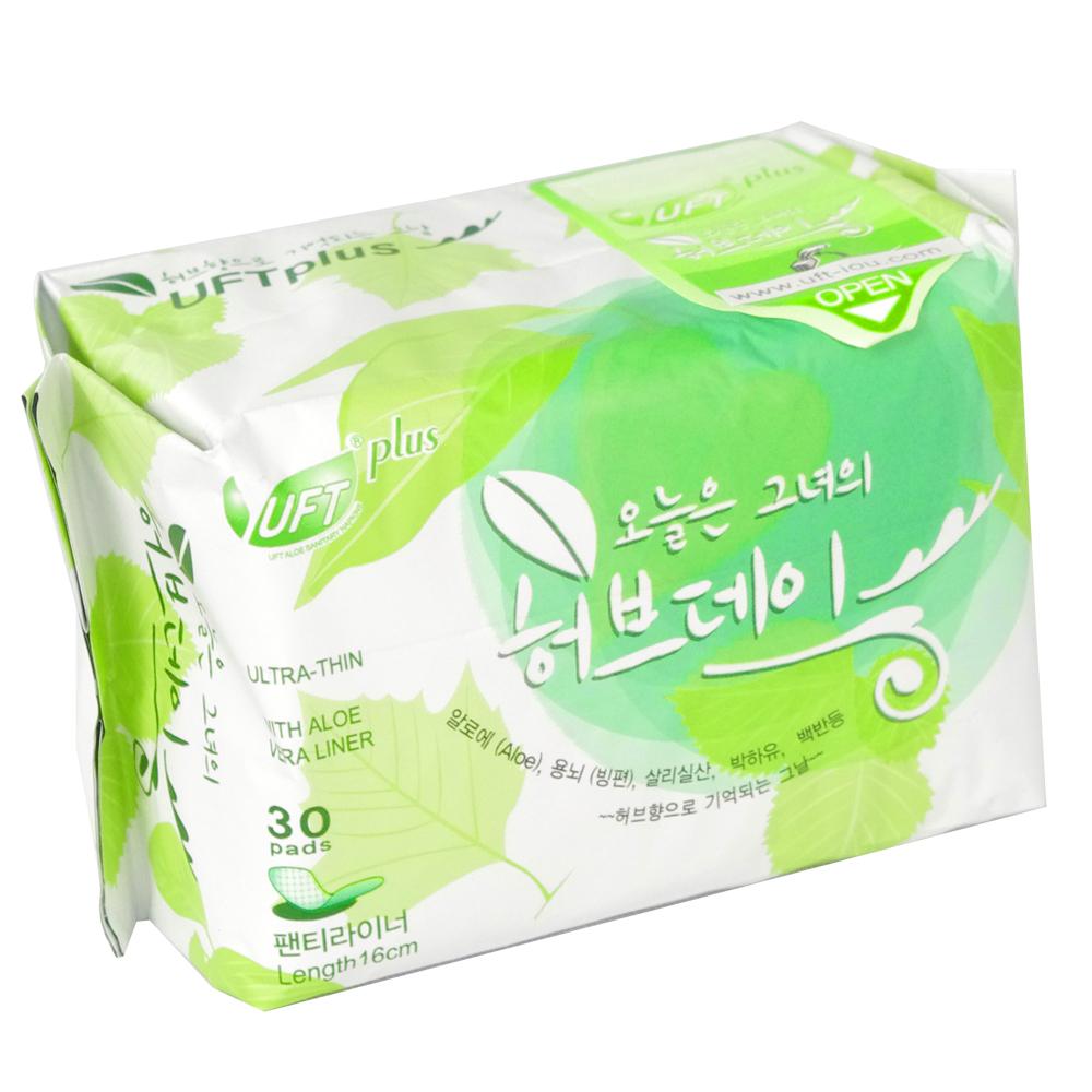 UFT韓風草本假期衛生棉-清爽護墊16cm(30片x1包)