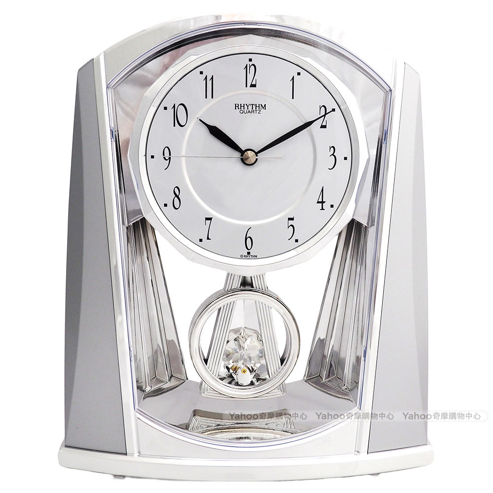 RHYTHM日本麗聲 水晶擺錘精緻超靜音座鐘(雅緻銀)/21cm