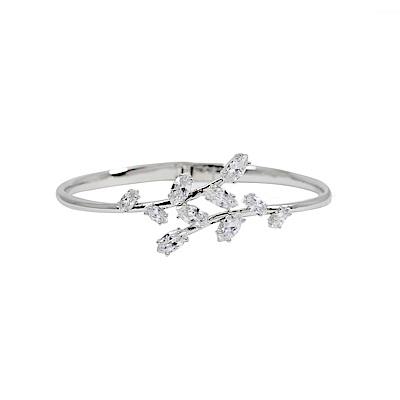 CAROLEE 歐美品牌 閃耀晶鑽葉片線條手鐲