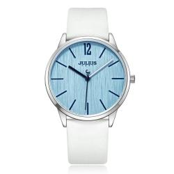 JULIUS聚利時 秋日暖陽直紋錶面皮錶帶腕錶-白色/36mm