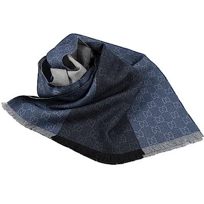 GUCCI 經典G LOGO雙色款造型圍巾/披肩(深藍)