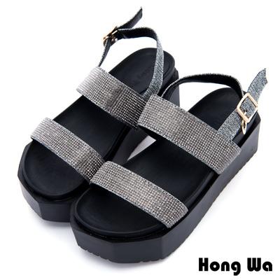 Hong Wa - 金屬科技感流行交叉帶拖鞋 - 銀