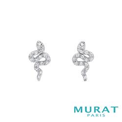 MURAT Paris米哈巴黎 時尚滿鑽蛇形耳環