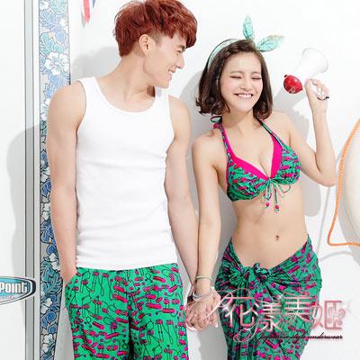 花漾美姬‧微風渡假*情侶泳衣(For_Man)金鍊紗萊卡海灘泳褲(綠)