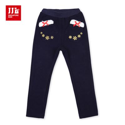 JJLKIDS 冰雪手套口袋內刷毛棉褲(藏青)