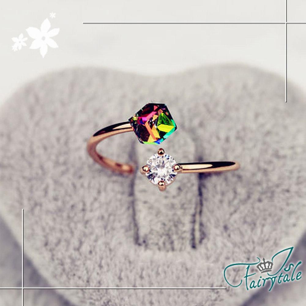 iSFairytale伊飾童話 七彩方鑽 造型水晶戒指