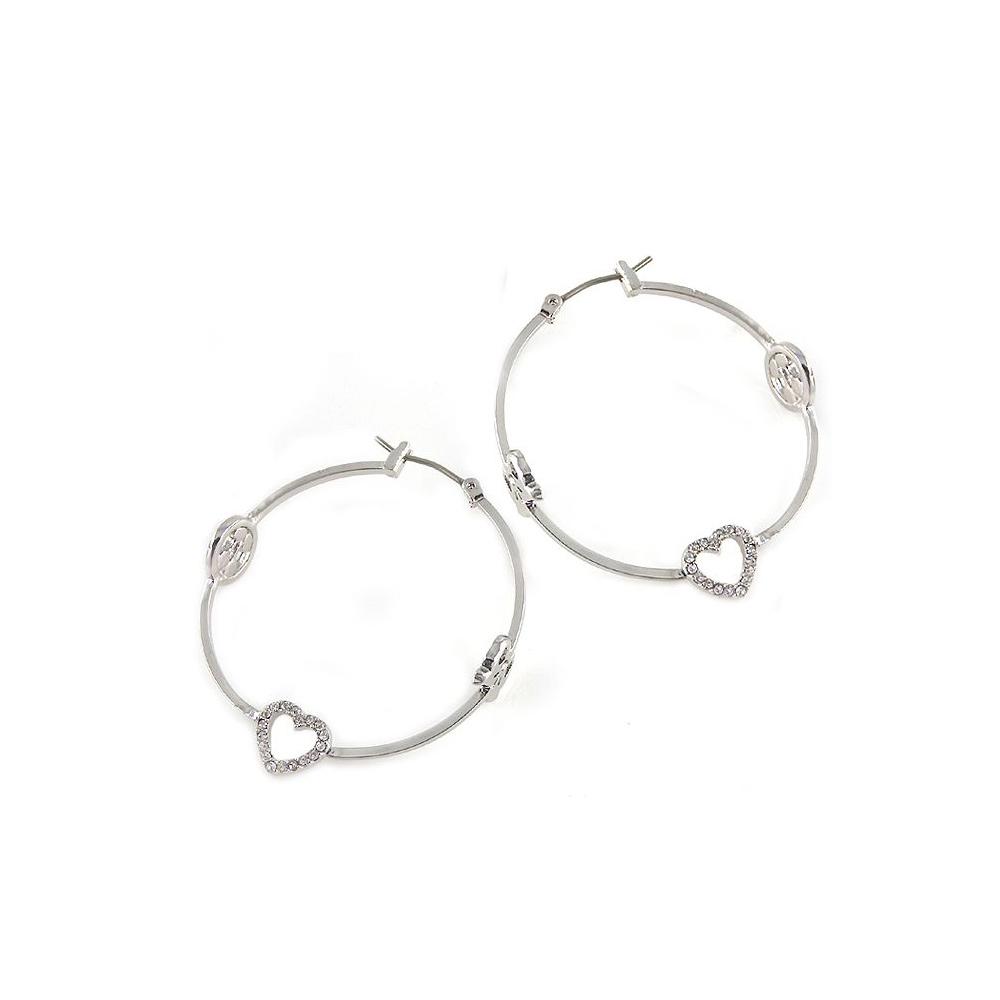 JUICY COUTURE 愛心晶鑽墜飾環型耳環