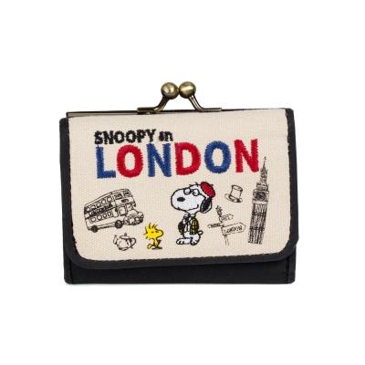 Marimo  SNOOPY世界系列帆布三折式迷你短夾(倫敦)