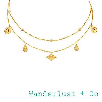 Wanderlust+Co 澳洲品牌 閃耀銀河星系鑲鑽項鍊 金色鑲鑽雙層頸鍊 GALAXY