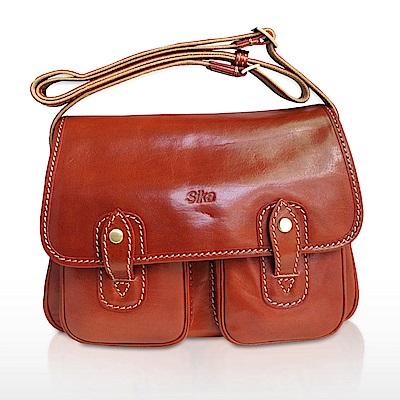 Sika雙口袋磁釦斜側背牛皮書包M6009-01-咖啡