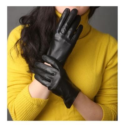 ego life小綿羊皮時尚修手全觸控保暖女手套 黑色