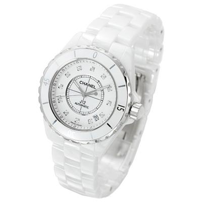 (無卡分期-24期)CHANEL J12 白色陶瓷12顆鑽機械腕錶-白/38mm