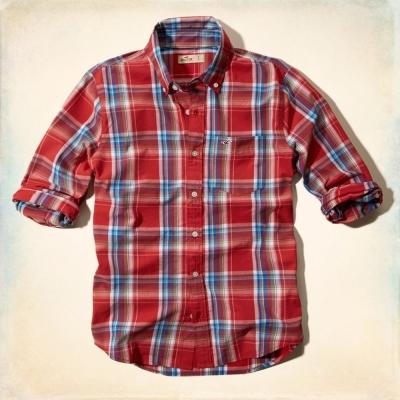 Hollister HCO 長袖 襯衫 紅色 0151