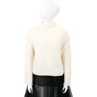 Max Mara-SPORTMAX 米白色混紡羊毛針織長袖上衣
