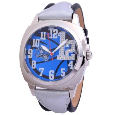 NBA 美國職籃 奧蘭多魔術隊炫麗晶鑽數字12腕錶-銀藍/45mm