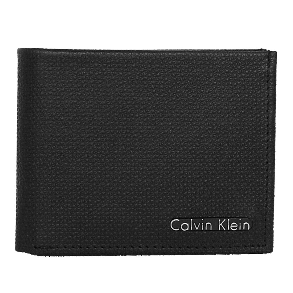 Calvin Klein黑色高質感壓紋皮革經典雙折短夾