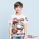 JJLKIDS 英倫復古車純棉短袖上衣T恤(白色)