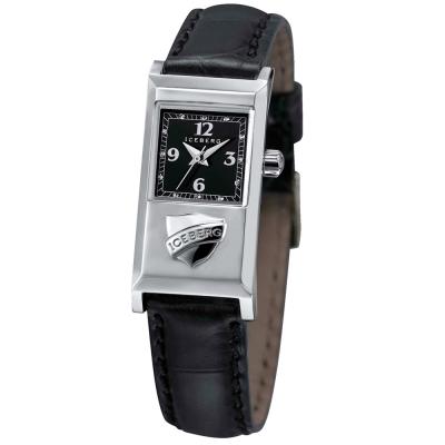 ICEBERG 米蘭時尚系列Logo皮帶腕錶-黑/20x36mm