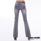 BIG TRAIN-女款 皮線繡B伸縮靴型褲-中灰
