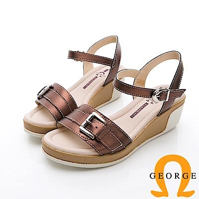 GEORGE 喬治-簡約寬帶扣環休閒涼鞋楔型鞋-古銅