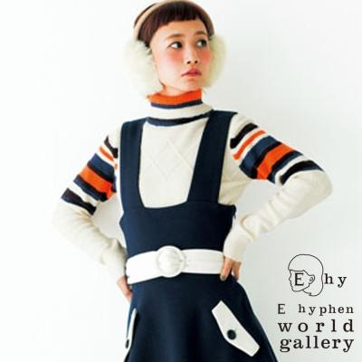 E hyphen 三戶夏芽著用款-高領條紋配色針織上衣