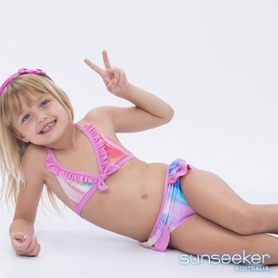 澳洲Sunseeker泳裝小女童抗UV防曬兩件式比基尼泳衣-霓彩粉