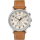 TIMEX 天美時 週末系列 三眼計時手錶-白x棕色/40mm