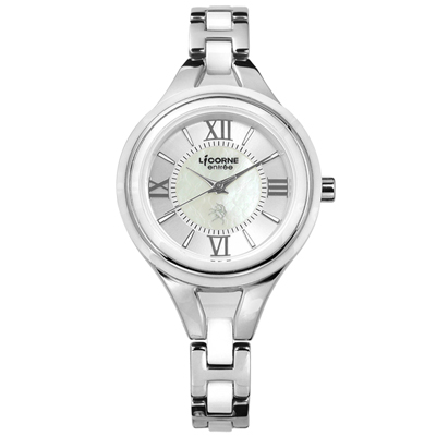 LICORNE力抗   entree羅馬珍珠母貝防水不鏽鋼陶瓷手鍊式手錶-銀白色/32mm
