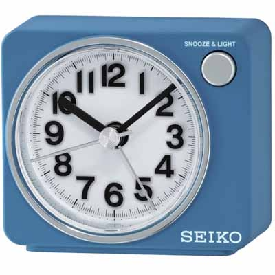 SEIKO 靜音小鬧鐘 滑動式秒針(QHE100L)-藍/6.4X7.4cm