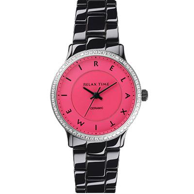RELAX TIME 輕熟奢華鑽圈陶瓷錶款-黑x桃/30mm