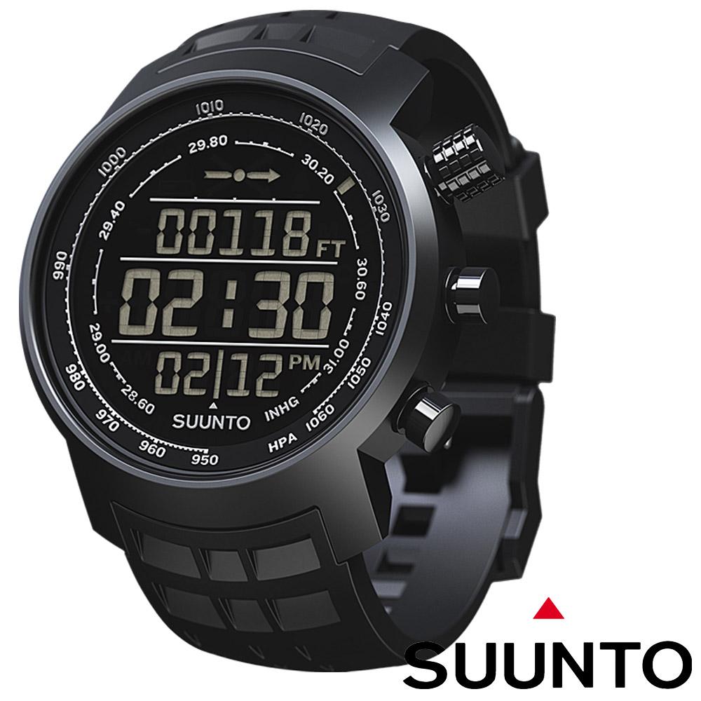 Suunto Elementum TERRA登山釣魚計時錶全黑橡膠錶帶限量款